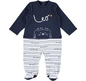 Two coloured footed lion romper BLUE