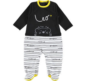 Two coloured footed lion romper BLACK