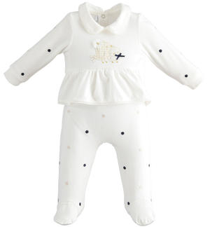 Soft stretch cotton jersey full onesie with feet for baby girl with collar