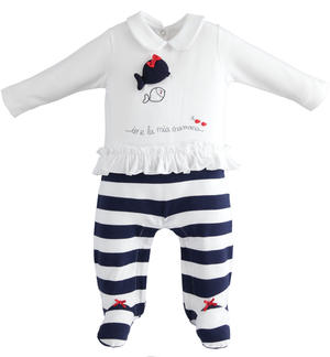Soft double-headed effect cotton onesie with feet for baby girl BLUE