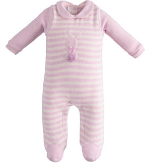 Bodysuit with striped foot with bunny