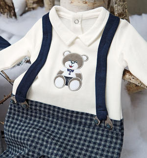 Onesie with false suspenders and teddy bear embroidery BLUE