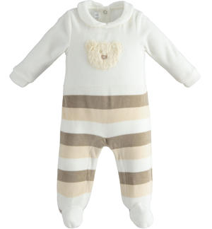 One-piece romper with feet with faux fur bear and striped gaiter