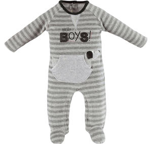 Sleepsuit with kangaroo pocket and dachshund  GREY