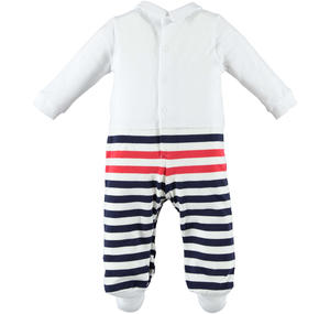 One-piece romper for baby boy in cotton with feet and playing stripes BLUE