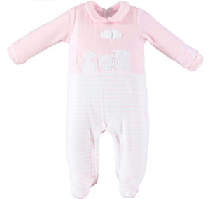 Chenille unisex model onesie for newborn PINK