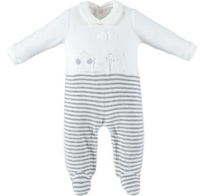 Chenille unisex model onesie for newborn CREAM