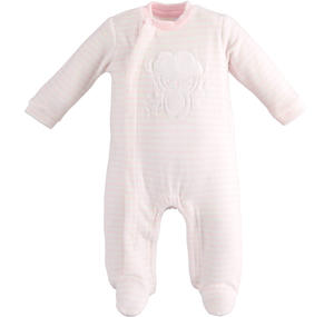 Unisex model onesie for newborn with all over striped pattern PINK
