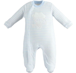 Unisex model onesie for newborn with all over striped pattern LIGHT BLUE