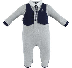 Baby boy cotton romper with contrasting faux waistcoat GREY