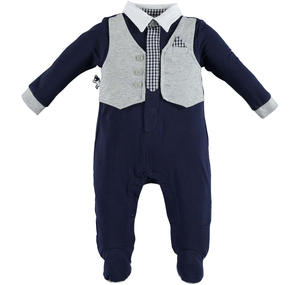 Baby boy cotton romper with contrasting faux waistcoat BLUE