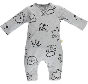 100% cotton lion romper without feet GREY