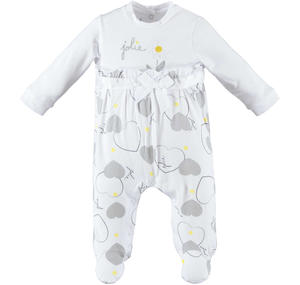 Spring romper with feet for baby girl in cotton GREY