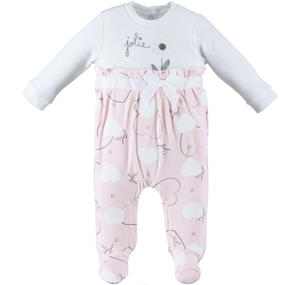 Spring romper with feet for baby girl in cotton PINK