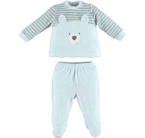 Romper 2 pcs set with teddy bear  LIGHT BLUE