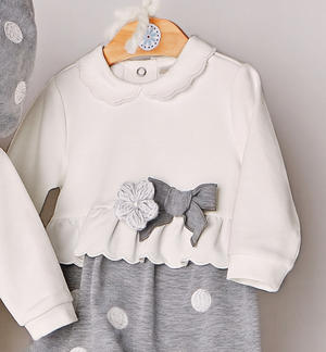 Newborn baby girl's suit with polka dot pattern embroidered trousers GREY