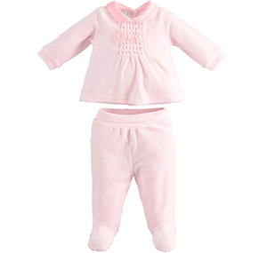 Chenille sit for newborn baby girl PINK