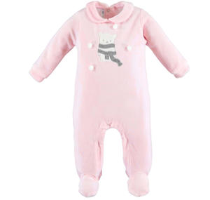 Unisex sleepsuit made of soft chenille with teddy bear  PINK