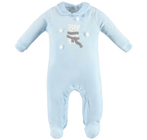 Unisex sleepsuit made of soft chenille with teddy bear  LIGHT BLUE