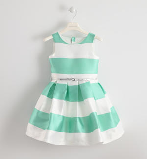 Girl's satin color block formal dress  GREEN