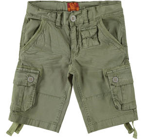 Boy's stretch cotton Bermuda shorts with pockets GREEN