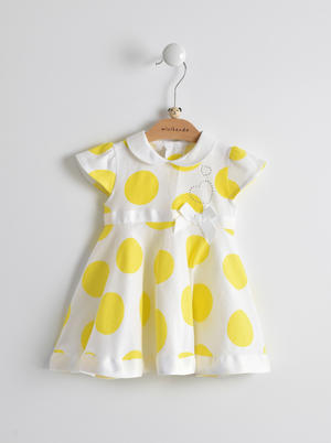 100% cotton dress with collar and maxi playing polka dots YELLOW