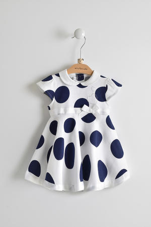 100% cotton dress with collar and maxi playing polka dots BLUE