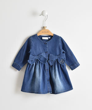 Baby girl dress 100% cotton denim effect BLUE