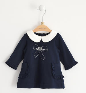 Stretch fleece long sleeves dress for baby girl BLUE