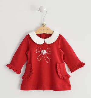 Stretch fleece long sleeves dress for baby girl RED