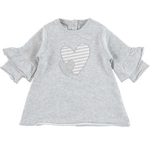 Dress with bell sleeves and hearts  GREY