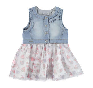 Dress with faux denim waistcoat and printed tulle skirt LIGHT BLUE