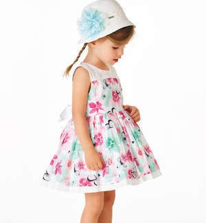 Satin cotton floral dress for girls WHITE