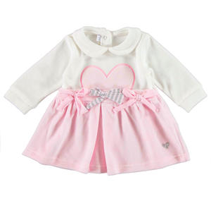 Chenille dress with bow and heart PINK