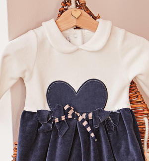 Chenille dress with bow and heart BLUE