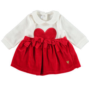 Chenille dress with bow and heart RED