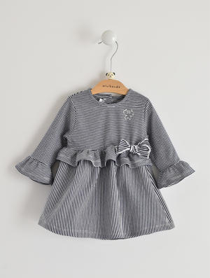 Baby girl dress in stretch cotton BLUE
