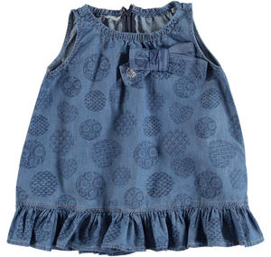 Light denim dress with an all over circles and hearts pattern BLUE