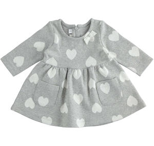 Stretch cotton jacquard knit newborn girl dress GREY