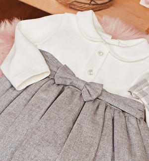 Little lurex milano stitch dress with a bow  GREY