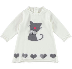 Tricot dress with kitten and hearts CREAM