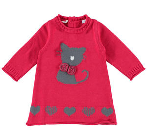 Tricot dress with kitten and hearts RED