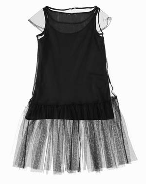 Tulle short-sleeved dress BLACK