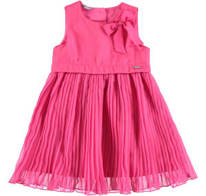 Voile dress with smooth bodice and pleated skirt PINK