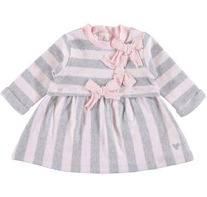 Little striped dress with bows  PINK