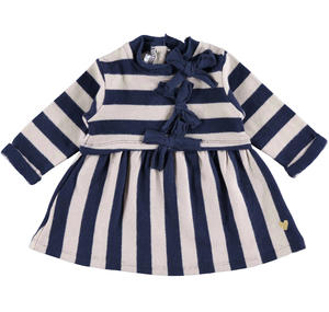 Little striped dress with bows  BLUE