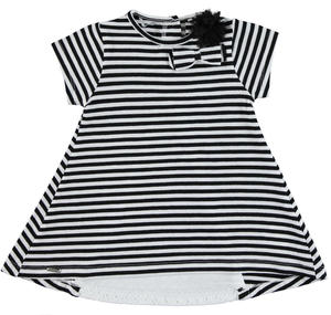 Striped cotton dress with broderie anglaise lace section BLACK