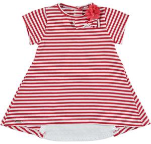 Striped cotton dress with broderie anglaise lace section RED