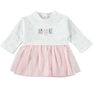 Long-sleeved cotton baby girl dress with tulle skirt PINK
