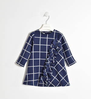 Tricot effect checked dress with ruffles BLUE